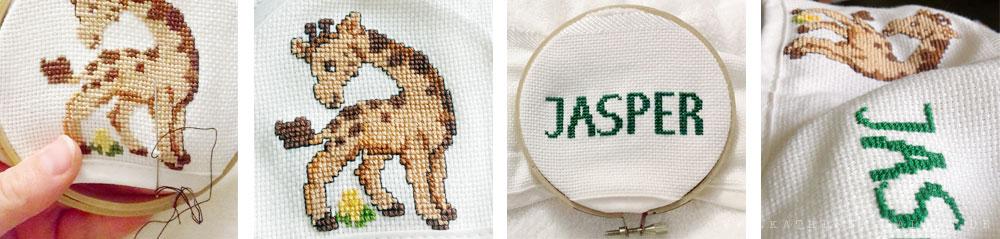 Giraffe und Jaspers Namen sticken
