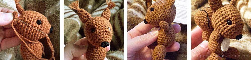 Einzelteile des Eichhörnchens aneinander nähen