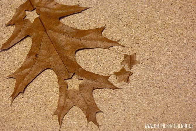 Blättergirlande basteln - Gestanztes Blatt