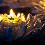 Künstliche Blüten werden zu stimmungsvollen Windlichtern