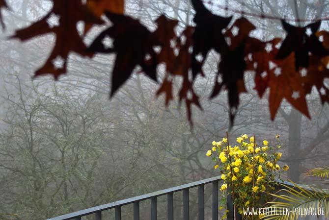 Blättergirlande, Nebel und Crysanthemen