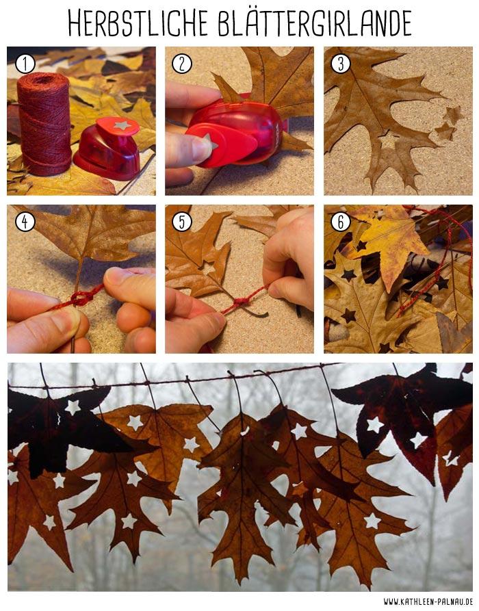 Anleitung zum Basteln einer Blättergirlande