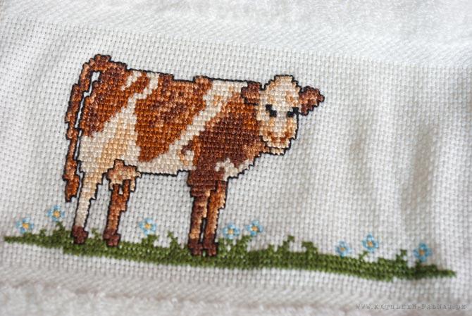 Dunkle Kuh auf dem Handtuch für Papa