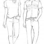 Fashion-Outlines von Frau und Mann