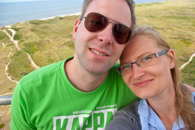 Selfie auf dem Leuchtturm mit Aussicht auf Nordsee und Ringkobing Fjord