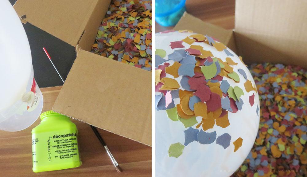 Materialien für die Konfettischale und erste Schicht Konfetti