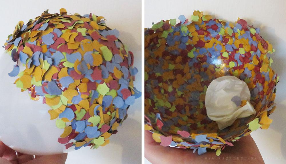Fertige Konfettischichten und Luftballon entfernen