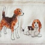 Gestickte Hunde auf Julians Geburtstags-Handtuch