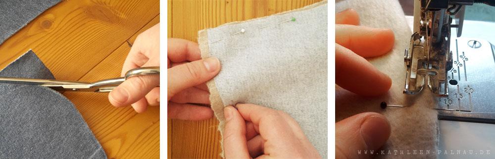 Stoff zuschneiden, zusammenstecken und -nähen