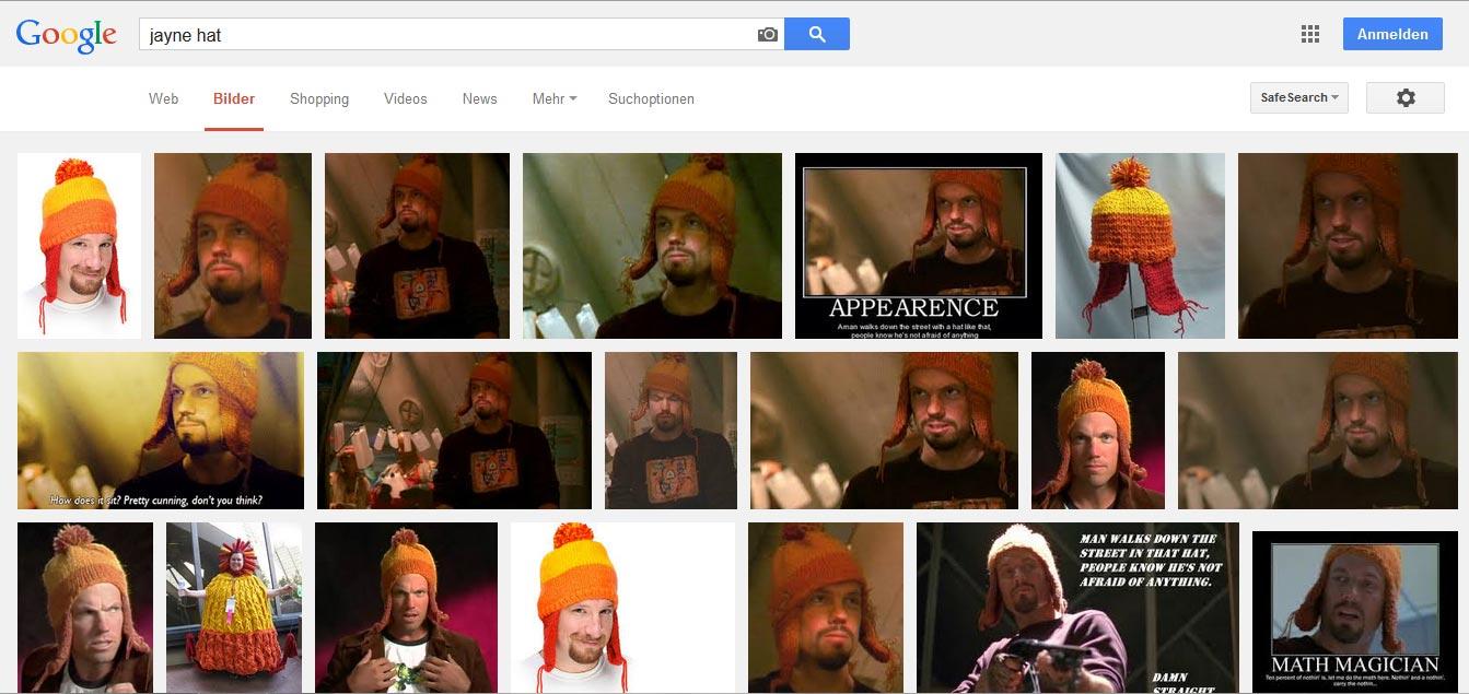 """Screenshot von Google mit den Bildergebnissen für """"Jayne Hat"""""""