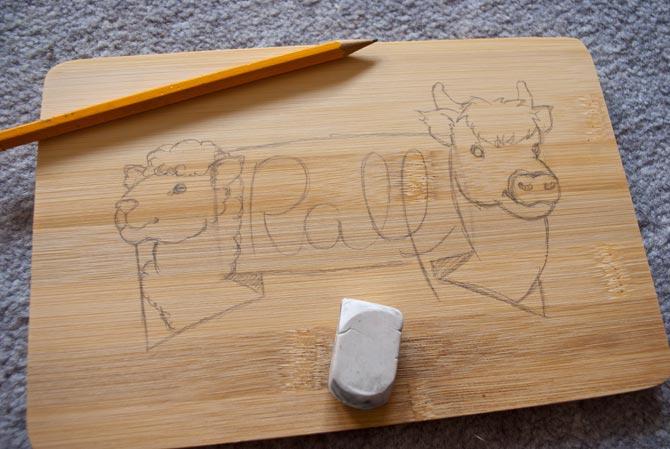 Skizze für Papas Brettchen