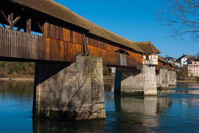 Das Wahrzeichen Bad Säckingens - die Holzbrücke